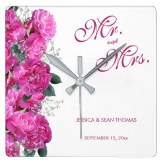 Romantic Floral Bouquet Wedding Square Wall Clock