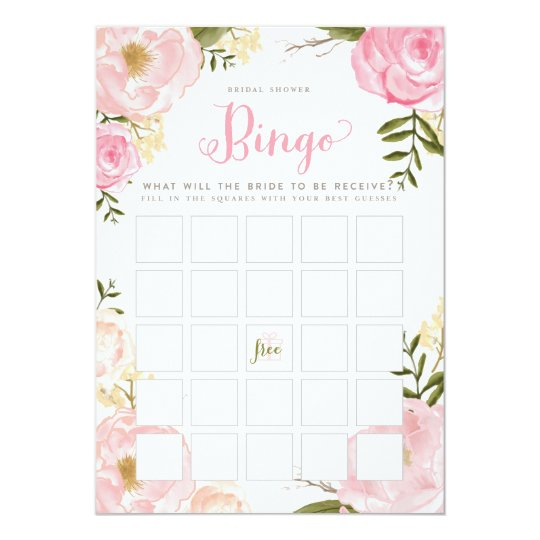 Romantic Floral Bridal Shower Bingo Game Card