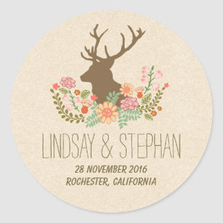 Romantic floral deer wedding stickers