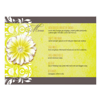 Romantic Floral Dinner Menu yellow chalkboard Invite
