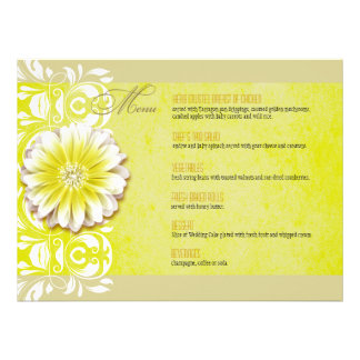 Romantic Floral Dinner Menu yellow taupe Announcement