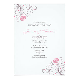 Romantic Floral Engagement Invitation Card