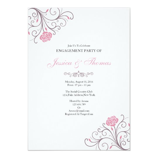 Romantic Floral Engagement Invitation Card