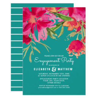 Romantic Floral Engagement Party Invitations