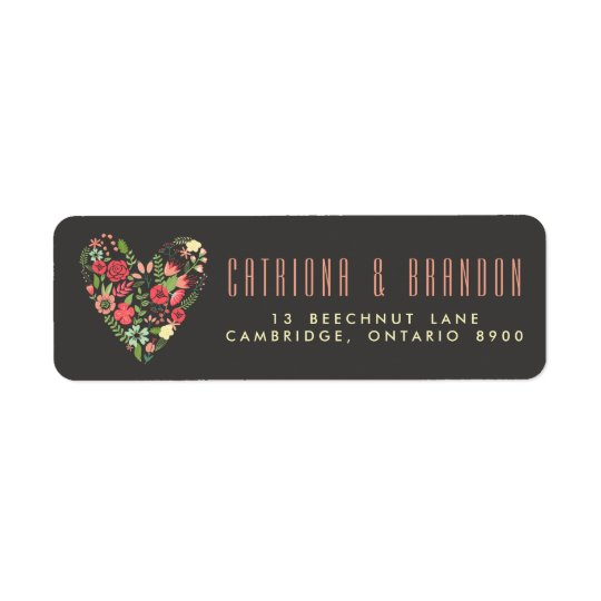 Romantic Floral Heart Return Address Label