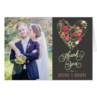 Romantic Floral Heart Wedding Thank You Card
