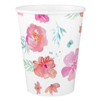 Romantic Floral Pink Watercolor Cool & Elegant Paper Cup
