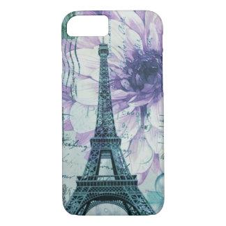 romantic floral postmark paris eiffel tower iPhone 8/7 case
