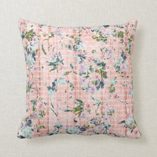 Romantic Floral Script Pink & Mint Throw Pillow