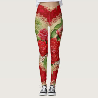Romantic Floral Valentine's Day Leggings