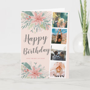 Romantic floral watercolor 4 photo grid birthday card