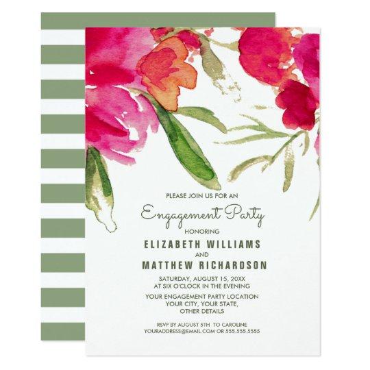 Romantic Floral Watercolor Engagement Party Invite
