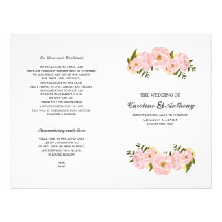 Romantic Floral Watercolor Folded Wedding Programs Flyer
