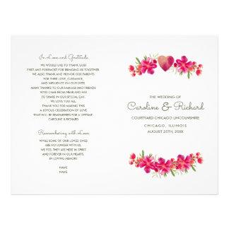 Romantic Floral Watercolor Wedding Programs Flyer