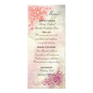 Romantic Floral Wedding Menu Template Personalized Rack Card