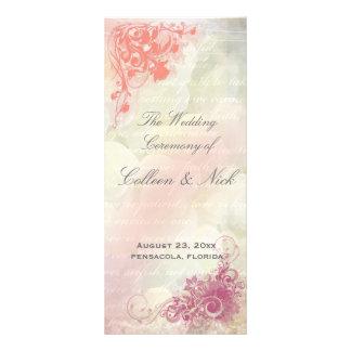 Romantic floral Wedding Program Template Rack Card