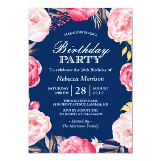Romantic Floral Wreath Navy Blue Birthday Party Card