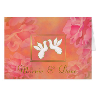 ROMANTIC FLOWER WEDDING INVITATION PINK LOVE DOVES