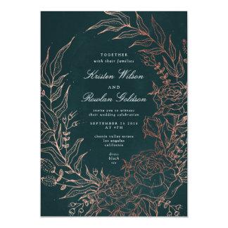 Romantic Flower Wreath Copper Wedding Invitation