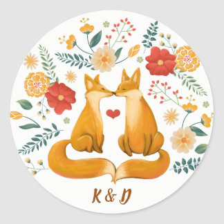 Romantic Foxes and Rustic Floral Foliage Wedding Classic Round Sticker