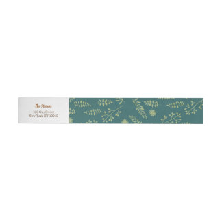 Romantic Foxes and Rustic Floral Foliage Wedding Wraparound Address Label