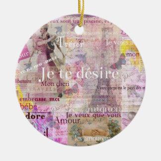 Romantic French Love Phrases Vintage Paris Art Christmas Ornament