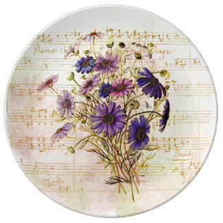 Romantic French Purple Bouquet Musical Collage Plate