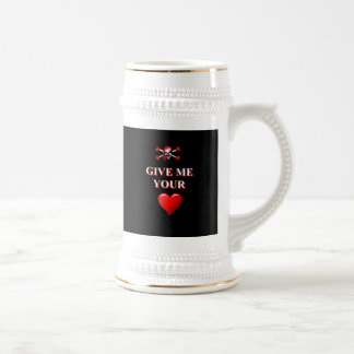 Romantic funny pirate ad red love heart beer stein