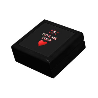 Romantic funny pirate ad red love heart gift box