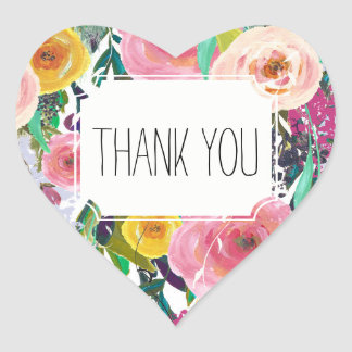 Romantic Garden Colorful Flowers Thank you Heart Sticker