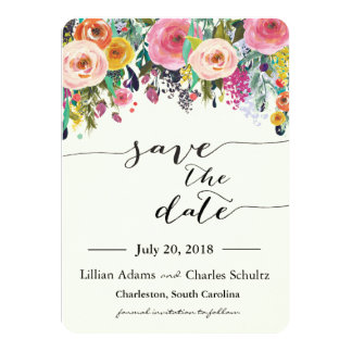 Romantic Garden Floral Save the Date Card