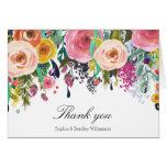 Romantic Garden Floral Watercolor Thank you Note Card