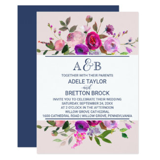 Romantic Garden Monogram Wedding Card