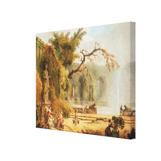 Romantic garden scene stretched canvas print