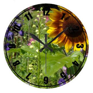 Romantic Garden Sunflowers Large Clock
