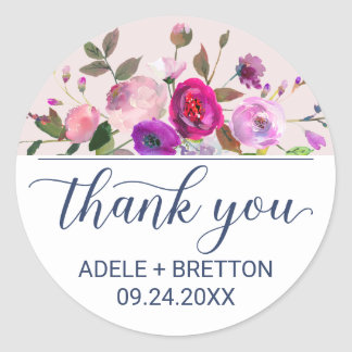 Romantic Garden Thank You Favor Classic Round Sticker