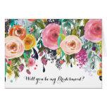 Romantic Garden Watercolor Floral Be My Bridesmaid Greeting Card