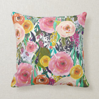 Romantic Garden Watercolor Flowers Cushion