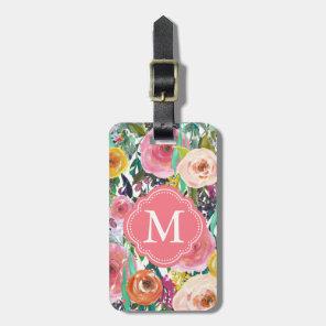 Romantic Garden Watercolor Flowers Monogram Luggage Tag