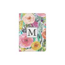 Romantic Garden Watercolor Flowers Monogram Passport Holder