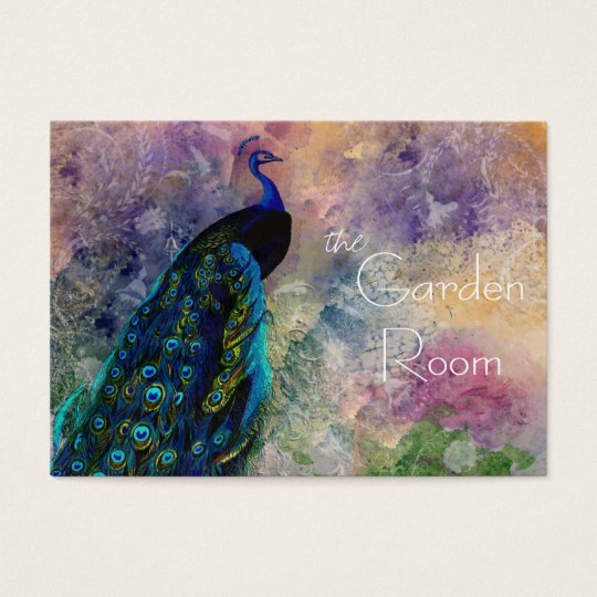 Romantic Gazebo Peacock and Watercolor Business Card