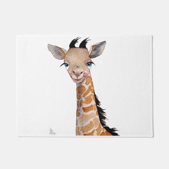 Romantic Giraffe cub doormat. Doormat