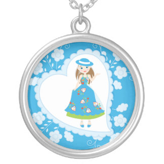 Romantic girl birthday party round pendant necklace