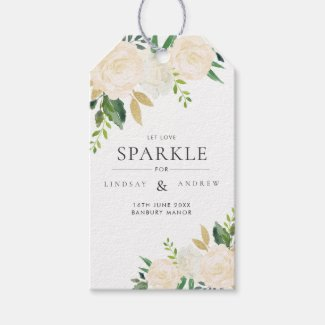 Romantic Glitter Roses Wedding Sparkler Tag