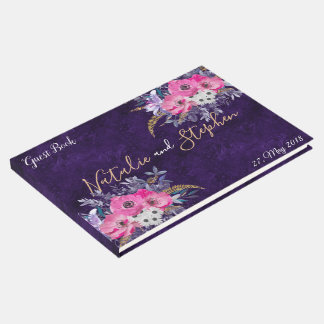 Romantic gold and purple floral wedding collection guest book