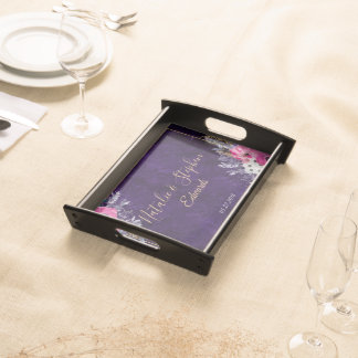 Romantic gold and purple floral wedding collection serving tray