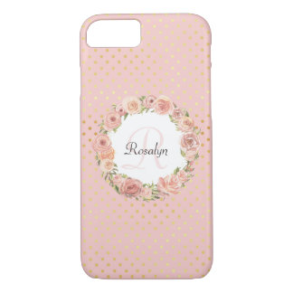 Romantic Gold Dotted Rose Floral Monogrammed Name iPhone 8/7 Case