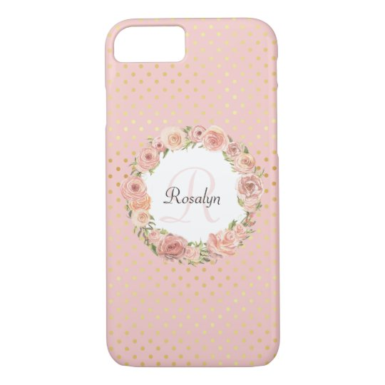 Romantic Gold Dotted Rose Floral Monogrammed Name iPhone