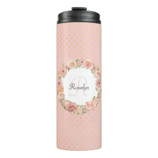 Romantic Gold Dotted Rose Floral Monogrammed Name Thermal Tumbler