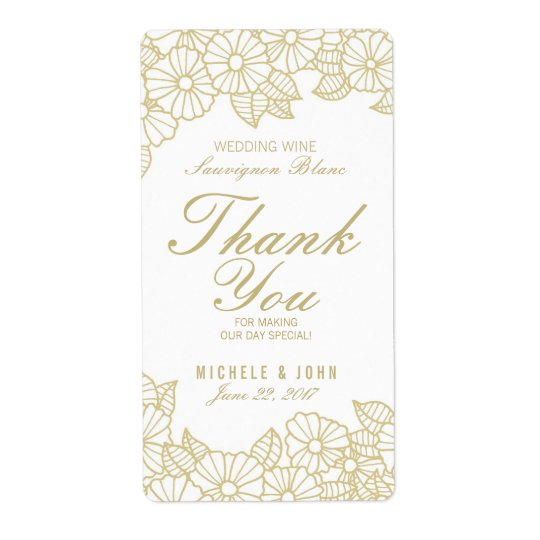 Romantic Gold Flowers Wedding Wine Custom Label Shipping
